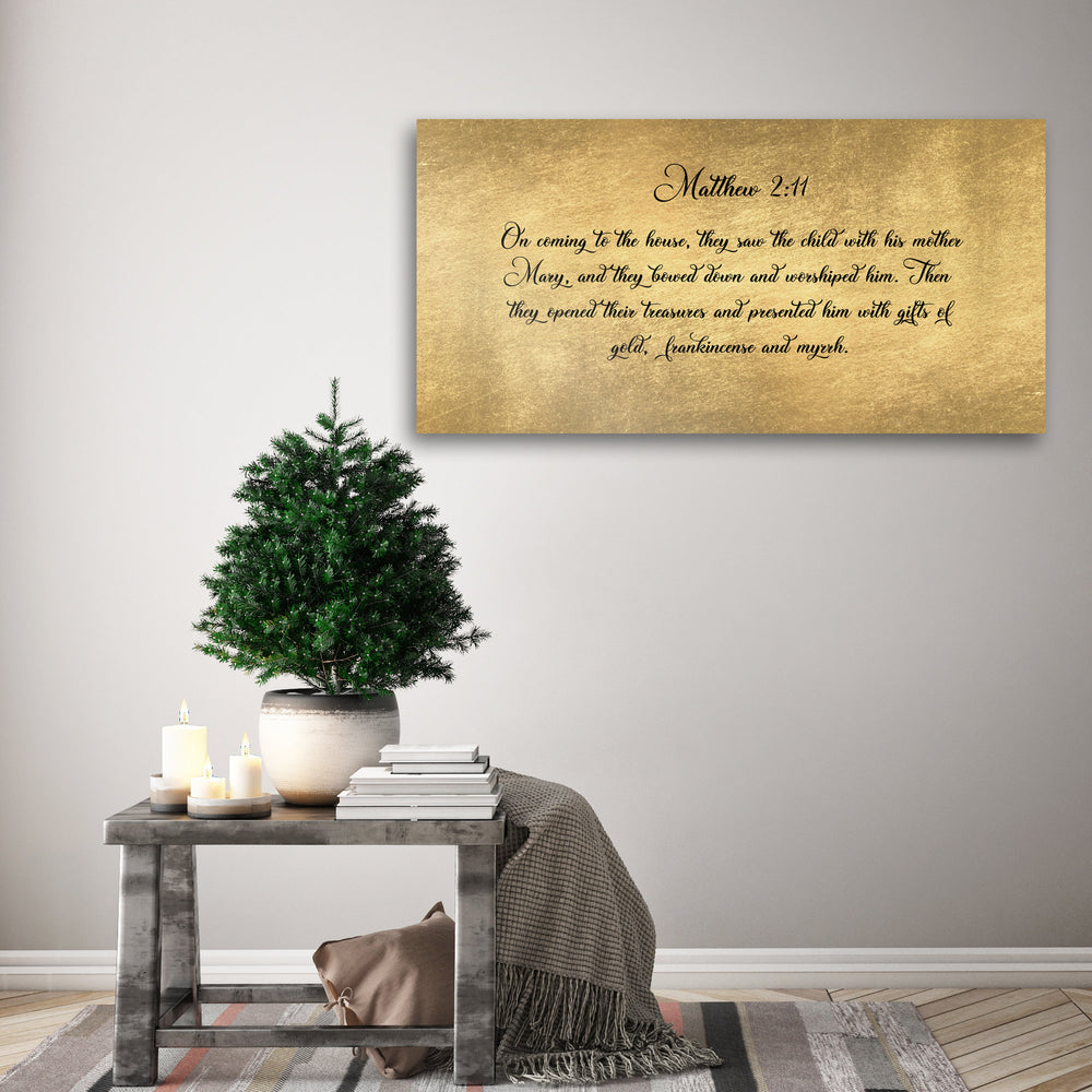 Christmas Scripture, Sign, Rustic Holiday Sign, Matthew 2:11, Christmas Sign, Christmas wall, Holiday Sign,  Christmas decor, Christmas Gift