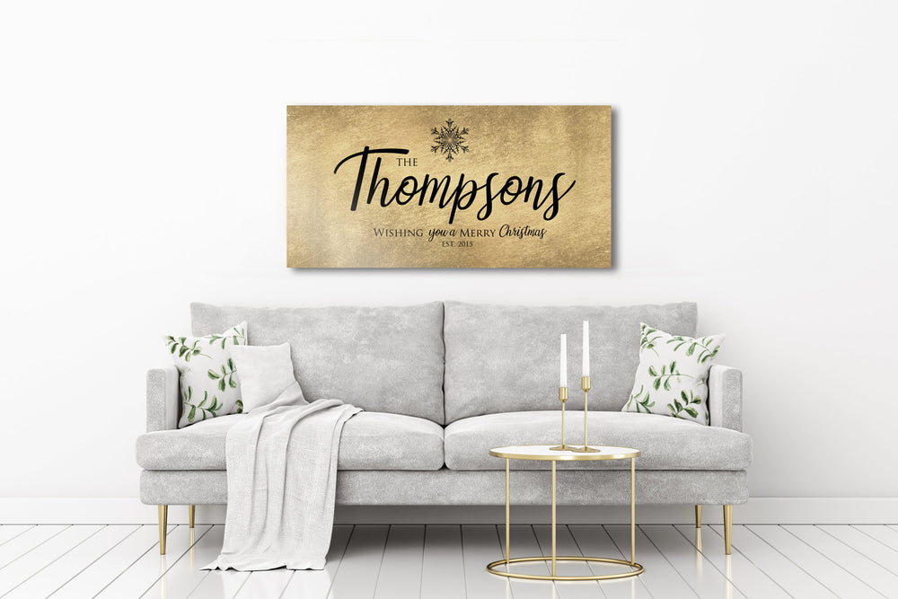 Rustic, Merry Christmas Sign, Last Name Sign, Snowflake Sign, Gold Christmas decor, Personalized Sign, Establsihed Sign, Large holiday art