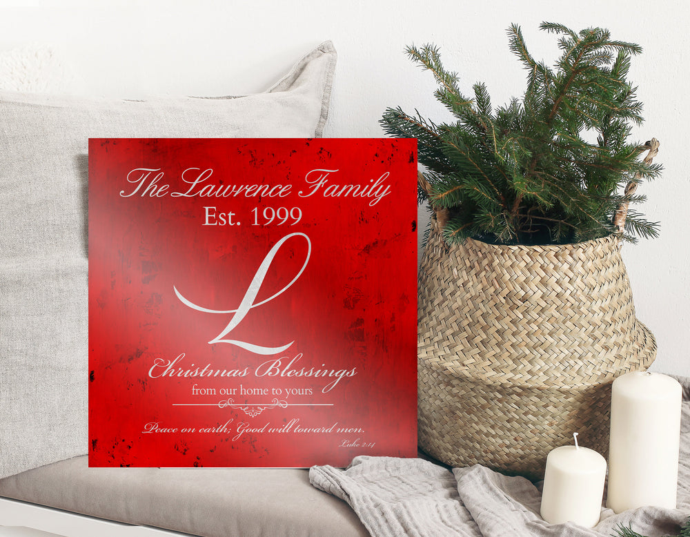 Christmas Sign, Holiday Wall Decor, Red Christmas Decor, Christmas, Family Gift, Established Sign, Last Name, Sign, Merry Christmas Sign