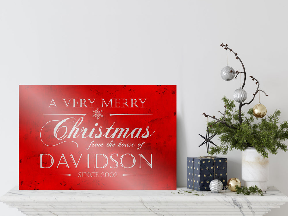 Personalize Holiday Sign, Family Sign, Christmas Sign Farmhouse, Est. sign, Metal Christmas Sign, Rustic, Large Christmas Sign, Red Decor