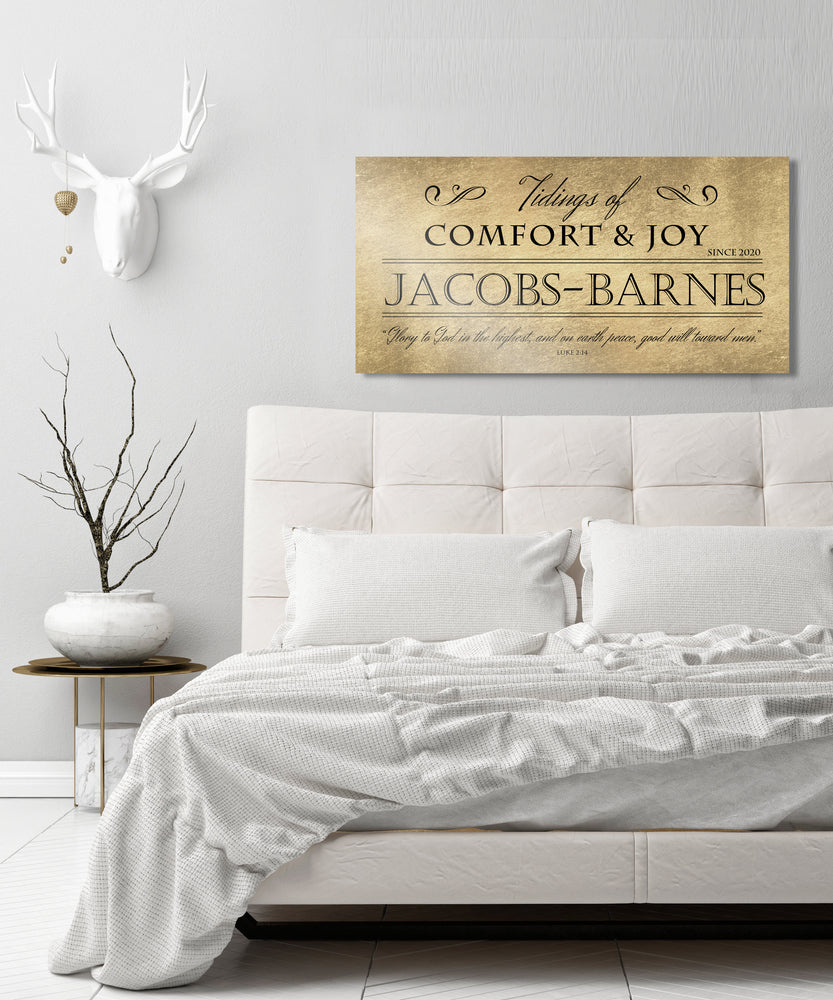 Comfort and Joy, Rustic Holiday Sign, Christmas Sign, Luke 2:14, Personalized Holiday Sign, Sign, Name Sign,  Gold Christmas decor, Gfit
