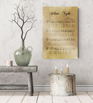 Silent Night, Sheet music Gift, Farmhouse Christmas, Gift for chior, Religious Gift, sign, Metal Christmas Sign, Rustic Christmas Decor