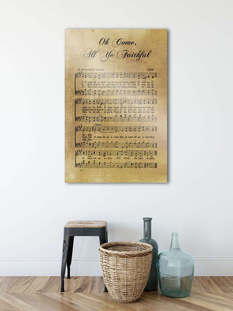 Sheet Music, Rustic Christmas Decor, Oh Come All Ye Faithful, Farmhouse Christmas, Gift, Religious Gift, sign, Metal Christmas Sign, Metal