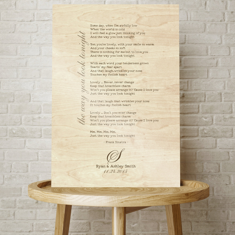 Wood Anniversary Gift, Lyrics on Wood, 5 Year Anniversary Gift, 5th Wedding Anniversary, Gift on Wood, Wedding Anniversary, SongLyrics, Gift