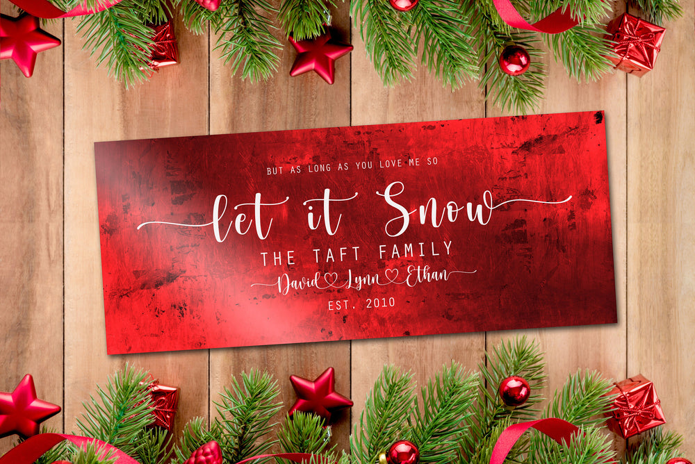 Let it Snow, Couple Gift, Tin Gift, 10 Year Anniversary, Tin gift, Christmas sign, With name, Holiday Sign, Est Sign, Wedding Gift, Winter