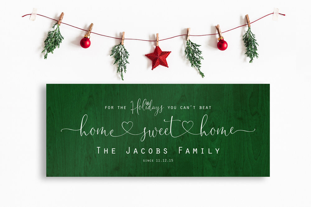 Christmas, Family sign, Home for the Holidays, Couple Gift, Wood Gift, 5 Year, Personalized, With name, Holiday Sign, Est Sign, Wedding gift