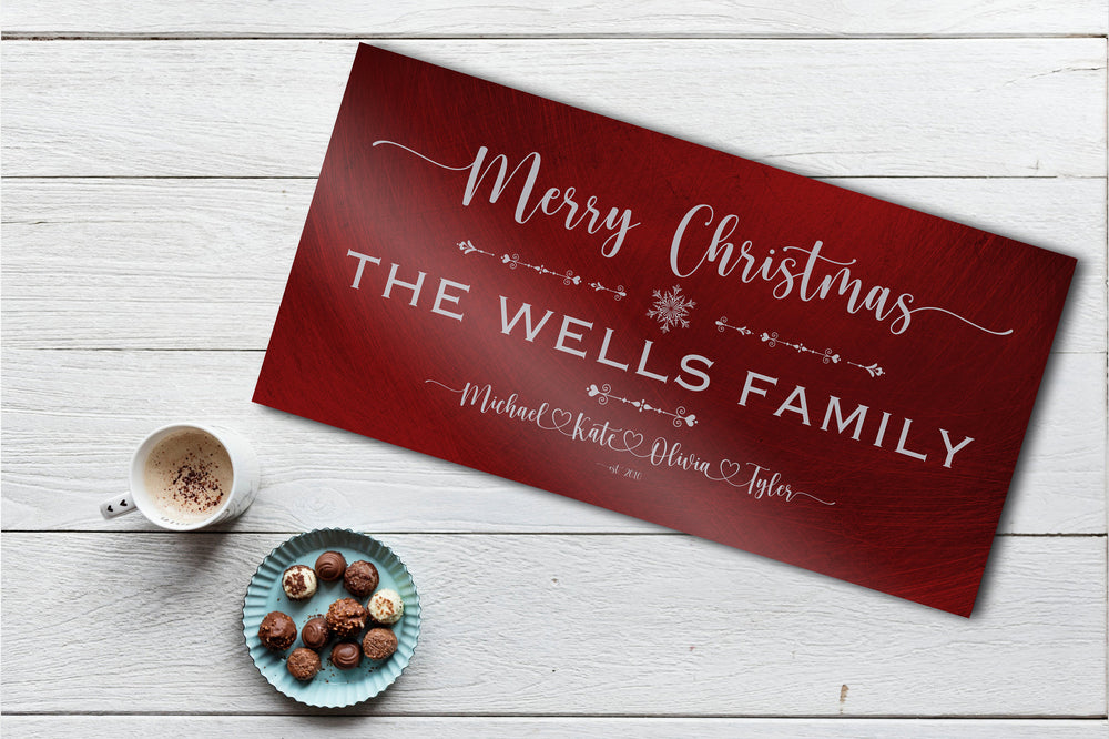 Family Christmas Sign, Christmas, decor, heart name, Personalized Holiday Sign, Establsihed Sign, with Name, Name Sign, Merry Christmas Sign