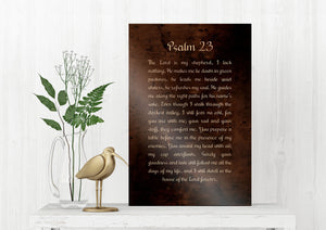 Psalm 23, Christian Gift, Burnished Bronze, Metal Print, Gift,  for him, for her, Pastor Gift, Christian Gift, Scriptures, Sign, Bible Art