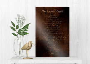 The Apostles' Creed, Apostolic Creed, Symbol of the Apostle, Christian Gift, Burnished, Bronze, Metal Print, Gift, for him, for her, Priest