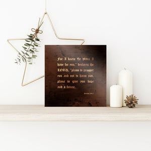 Jeremiah 29:11, For I know the plans I have for you, Bronze Anniversary Gift, Inspirational, Religious, gift, Sign, Metal, 19th Anniversary