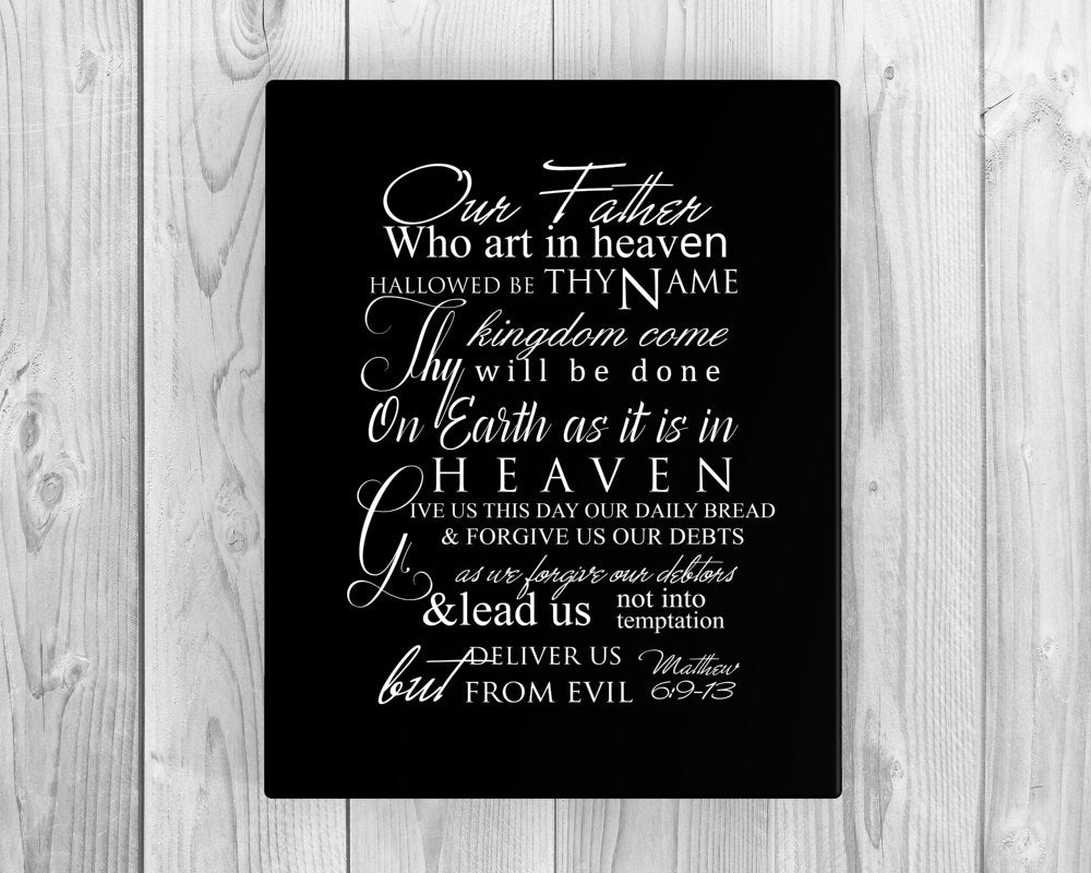 The Lord's prayer on canvas, christian song word art, Inspirational canvas,  Christian Lyric Canvas