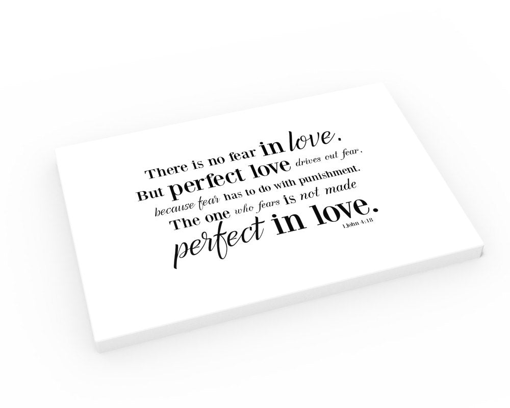 Scripture on Canvas Valentines Day Gifts about Love; Christian Valentine; Love bible verses canvas gift; 1 John 4:18 on Canvas