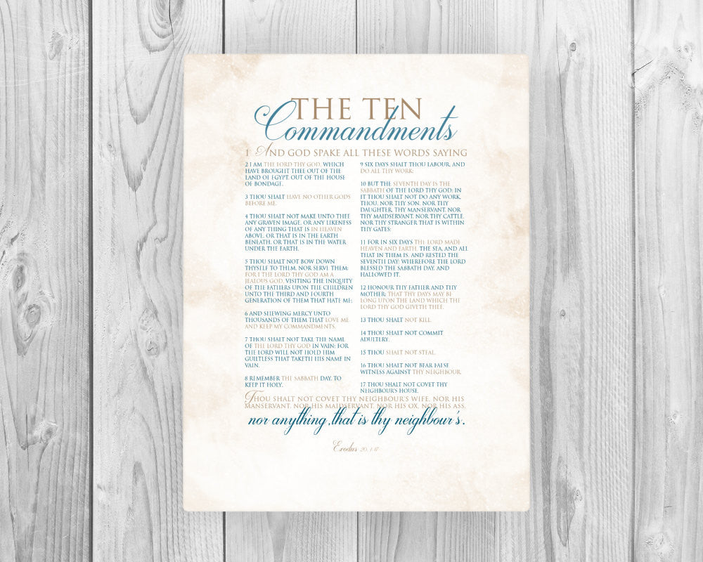Ten Commandments on Canvas - Fine art and canvas personalized anniversary and inspirational gifts