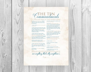 10 Commandments; The Ten Commandments on canvas or fine art paper, Exodus 20 word art, Christian themed typography