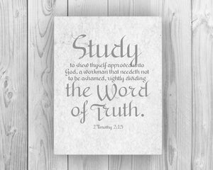2 Timothy 2:15  on Canvas; Study to show thyself approved  ; teacher gift ; homeschool decor; faith inspired word art - Fine art and canvas personalized anniversary and inspirational gifts