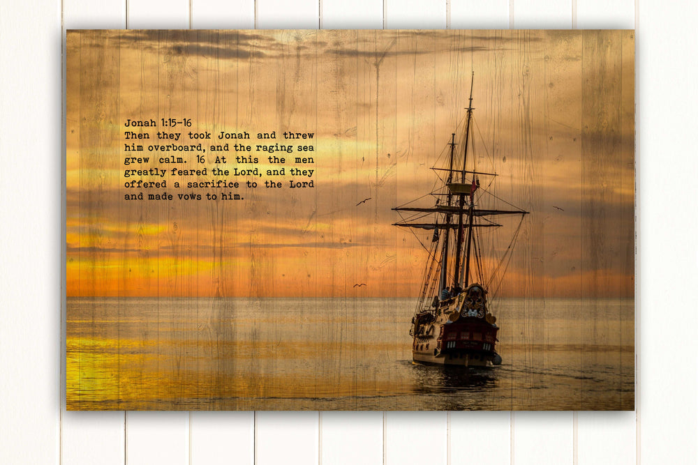 Wood Inspired Scripture Art: Jonah 1:15 on Canvas - Hunnycomb Proverbs - Wedding gift ideas - paper anniversary gifts