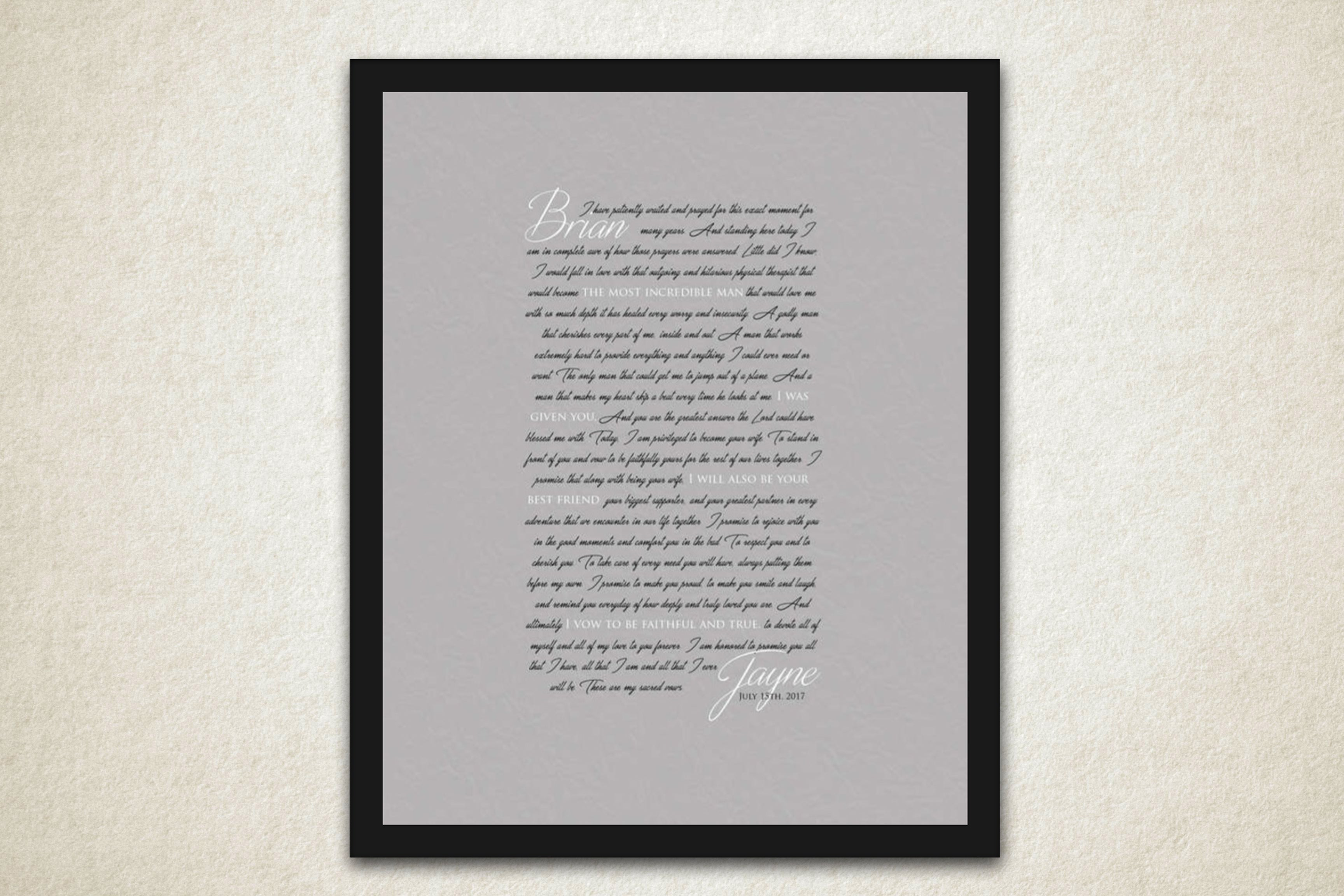 Custom Wedding Vow Art - Fine art and canvas personalized anniversary and inspirational gifts