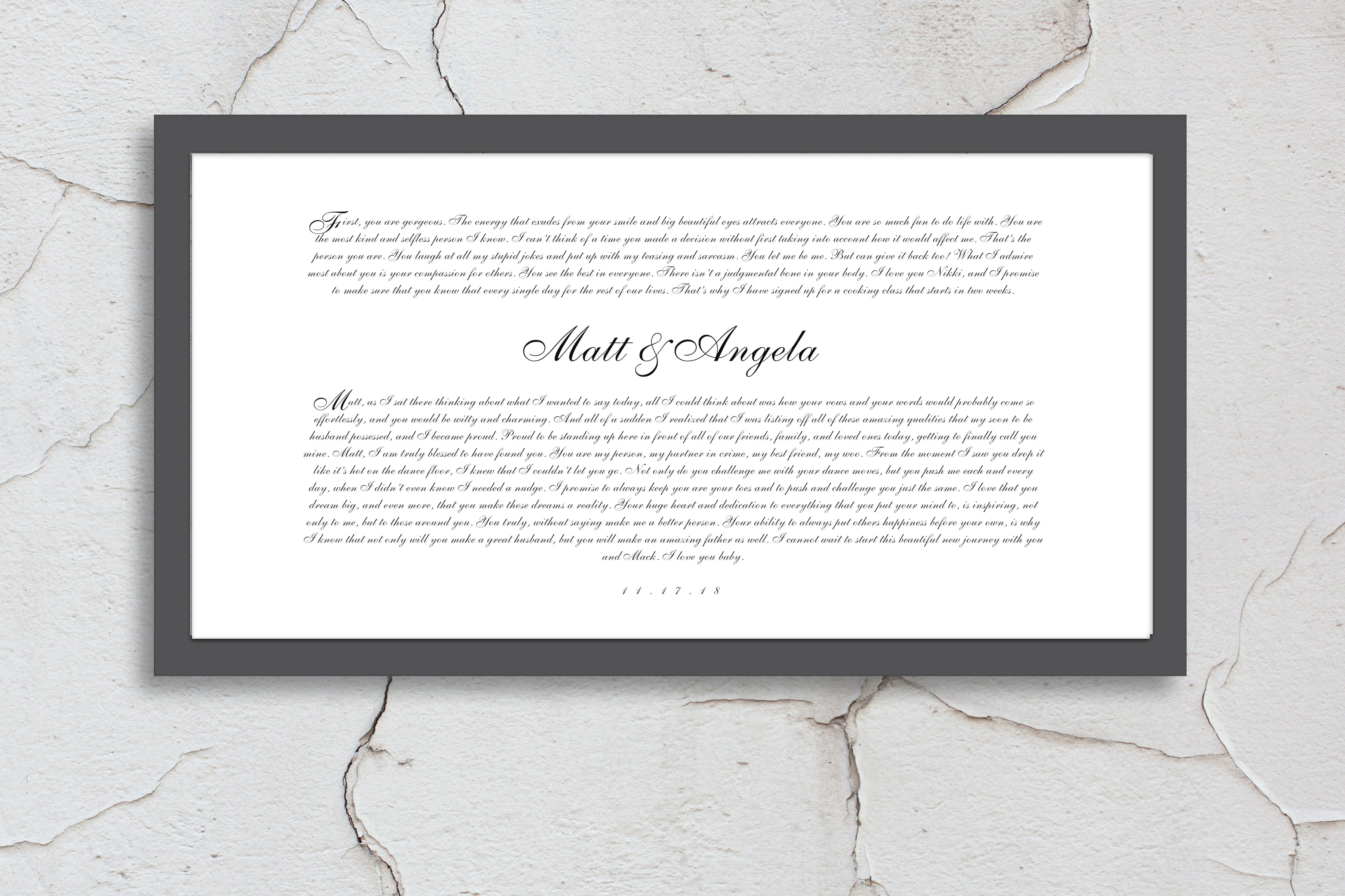 Romantic Anniversary Wedding Vow Art - Hunnycomb Proverbs - Wedding gift ideas - paper anniversary gifts