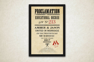 Proclamation Sign: Custom Gift for Wizards - Hunnycomb Proverbs - Wedding gift ideas - paper anniversary gifts