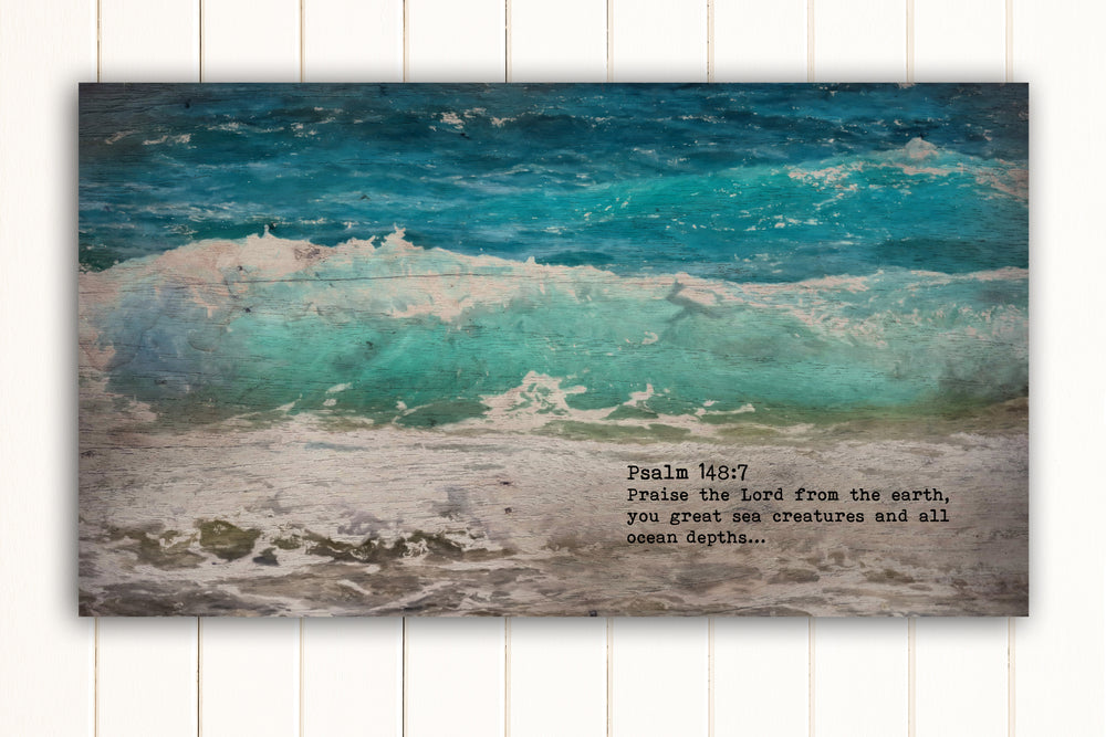 Wood Inspired Scripture Art: Psalm 148:7 on Canvas - Hunnycomb Proverbs - Wedding gift ideas - paper anniversary gifts