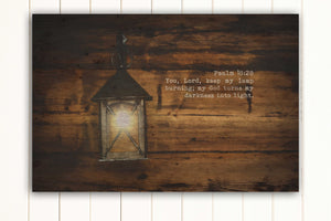 Wood Inspired Scripture Art: Psalm 18:28 on Canvas - Hunnycomb Proverbs - Wedding gift ideas - paper anniversary gifts