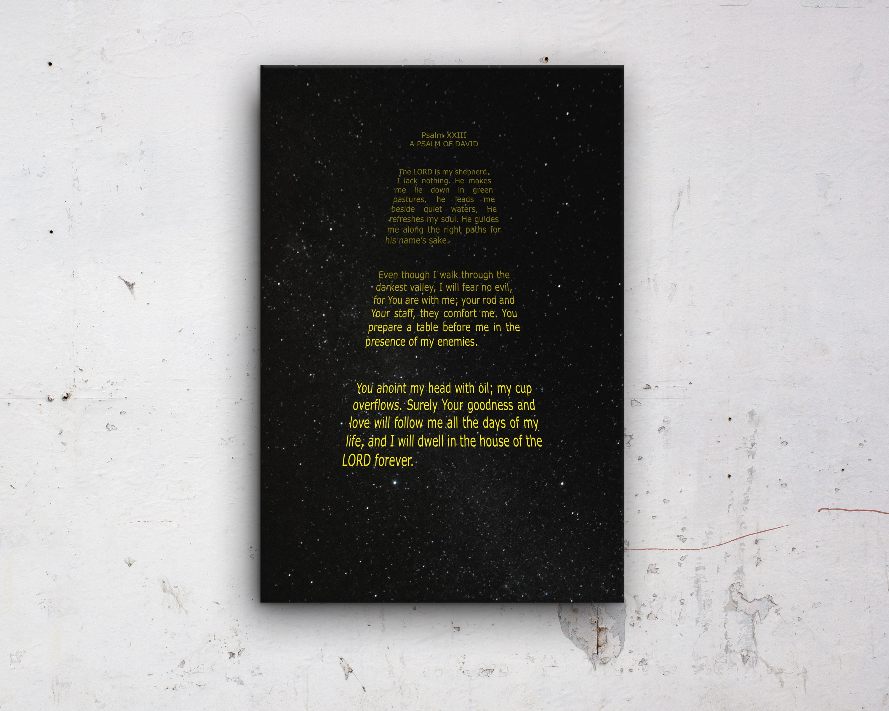 Psalm 23: Custom Bible Verse Star Wars Fan Art - Hunnycomb Proverbs - Wedding gift ideas - paper anniversary gifts