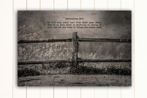 Wood Inspired Scripture Art: Revelation 21:4 on Canvas - Hunnycomb Proverbs - Wedding gift ideas - paper anniversary gifts