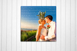 16x16 Wedding Vow Photo Canvas - Fine art and canvas personalized anniversary and inspirational gifts