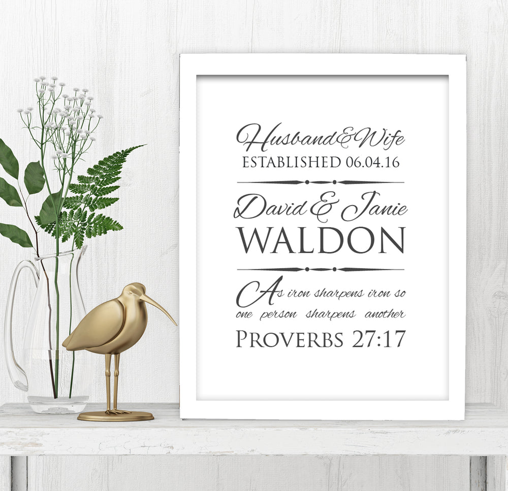 Proverbs 27:17 Personalized Wedding Gift - Fine art and canvas personalized anniversary and inspirational gifts