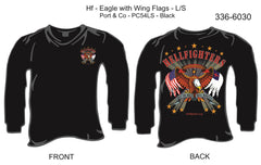 T-Shirt, Long Sleeve, Hellfighters Eagle w/Wing Flags (black, blank sleeves)