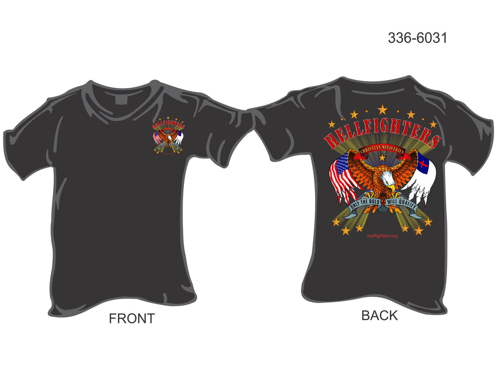 T-Shirt, Short Sleeve, Hellfighters Eagle w/Wing Flags (black)