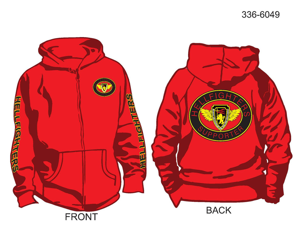 Hoodie, Long Sleeve, Hellfighter Supporter Oval (red, HF sleeves, zip-up)