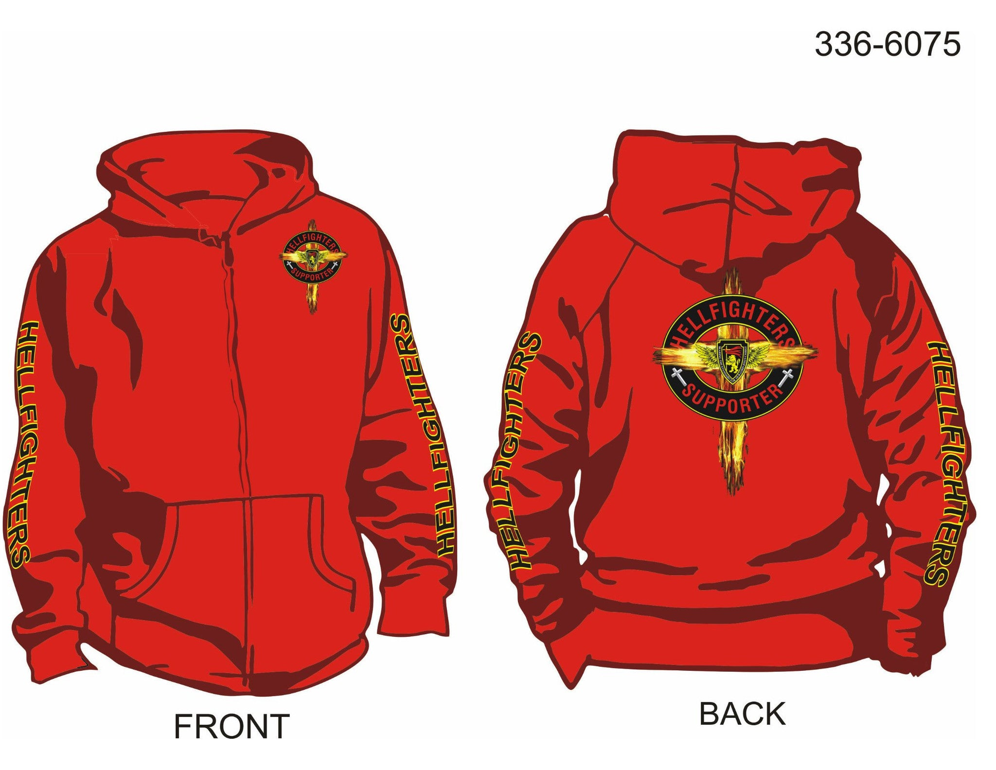 Hoodie, Long Sleeve, Hellfighter Supporter w/Cross (red, HF sleeves, zip-up)