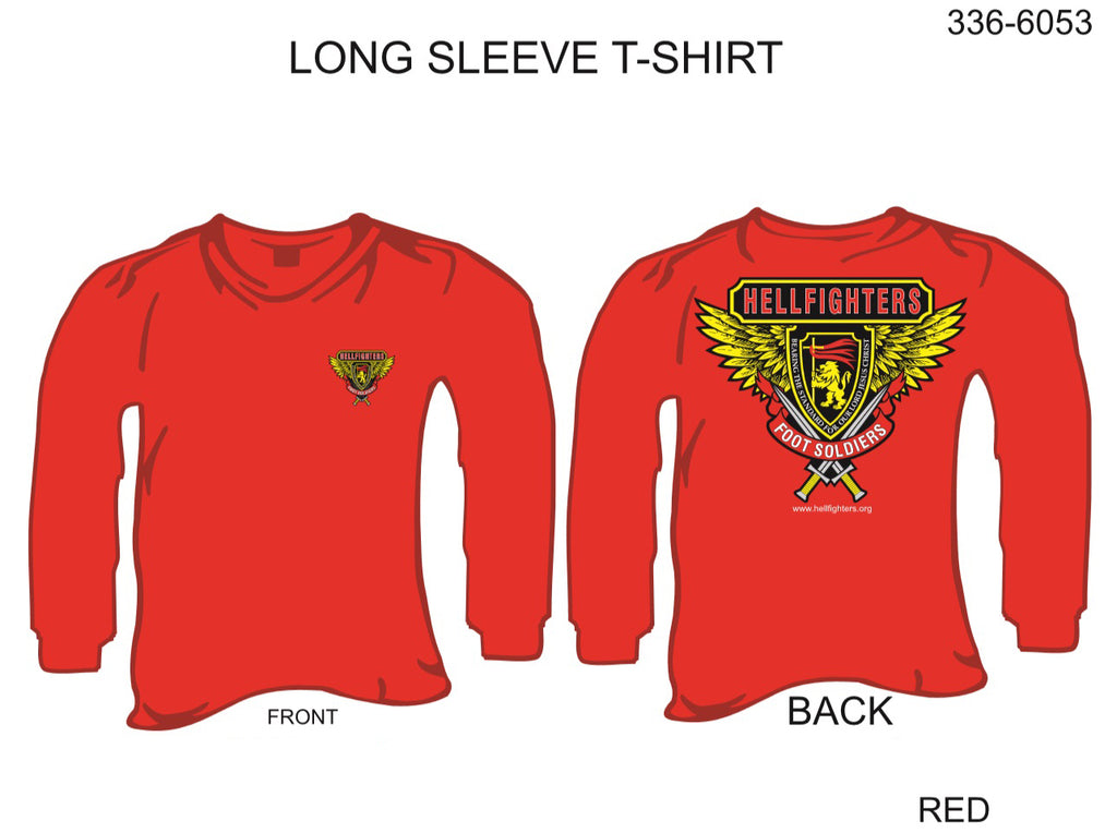 T-Shirt, Long Sleeve, Hellfighter Foot Soldier (red, blank sleeves)