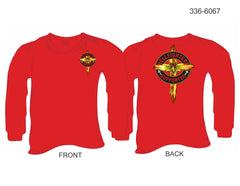 T-Shirt, Long Sleeve, Hellfighters Supporter w/Cross (red, blank sleeves)