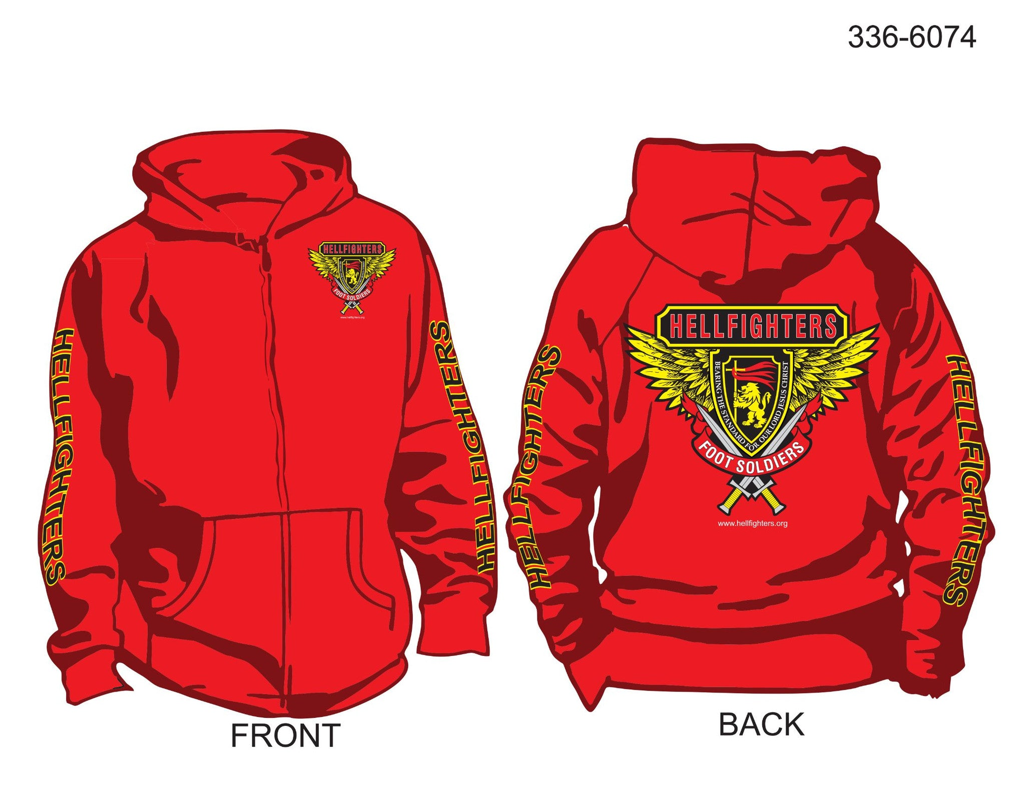 Hoodie, Long Sleeve, Hellfighter Foot Soldier (red, FS sleeves, zip-up)