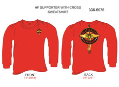Sweatshirt, Long Sleeve, Supporter w/Cross (red, blank sleeves)