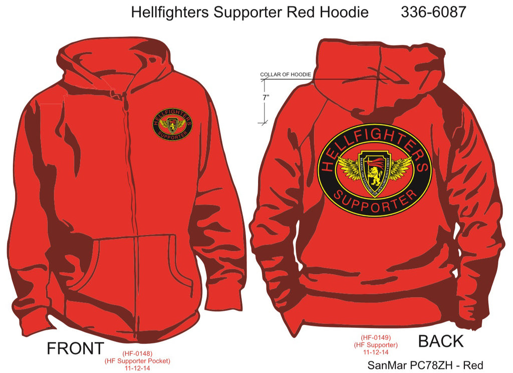 Hoodie, Long Sleeve, Hellfighter Supporter Oval (red, blank sleeves, zip-up)