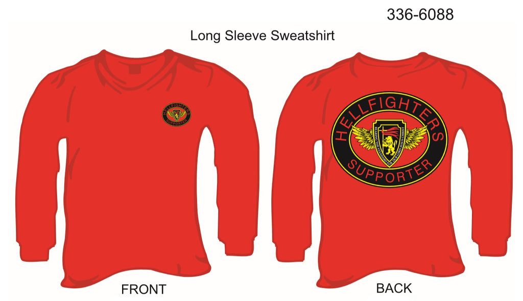 Sweatshirt, Long Sleeve, Hellfighters Supporter Oval (red, w/blank sleeves, crew neck)