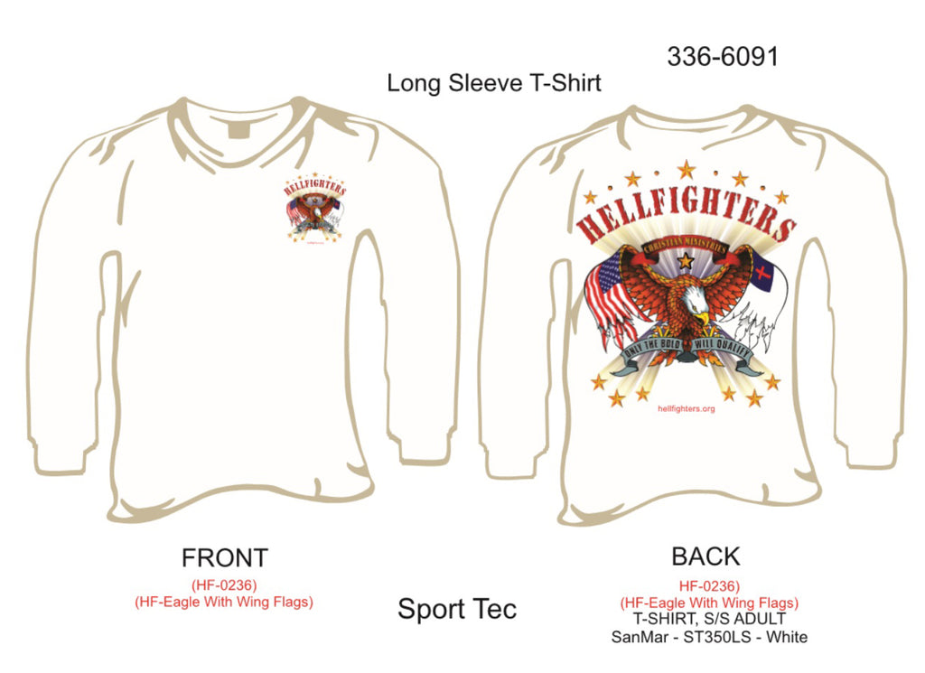 T-Shirt, Long Sleeve, Hellfighters Eagle w/Wing Flags (white, Sport Tek, blank sleeves)