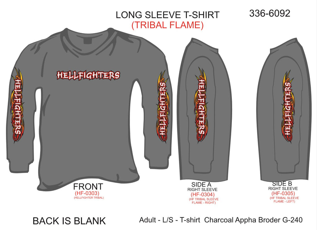 T-Shirt, Long Sleeve, Hellfighters w/Tribal Flame Sleeves (charcoal)