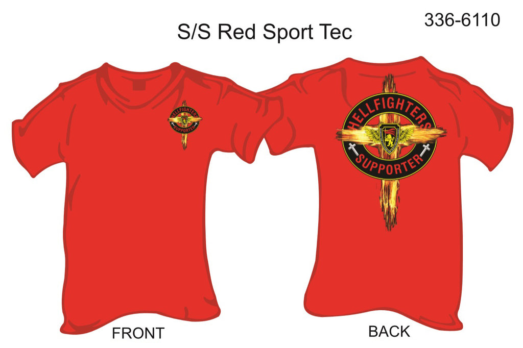 T-Shirt, Short Sleeve, Hellfighters Supporter w/Cross (red, Sport Tek)