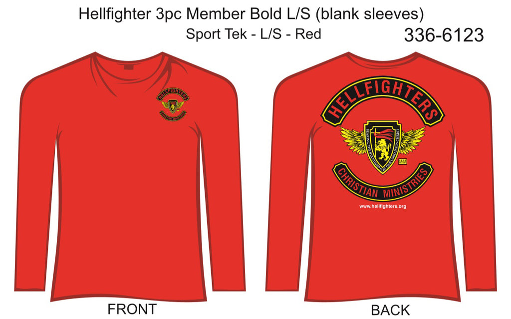 T-Shirt, Long Sleeve, Hellfighter 3pc Member Bold (red, Sport Tek, blank sleeves)