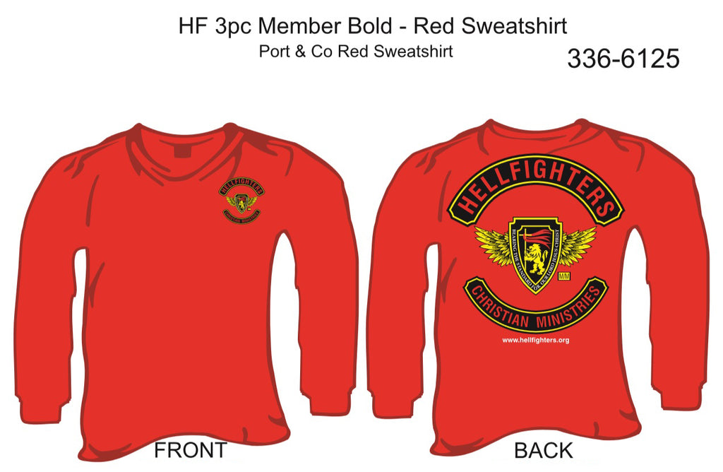 Sweatshirt, Long Sleeve, Hellfighter 3pc Member Bold (red , blank sleeves)