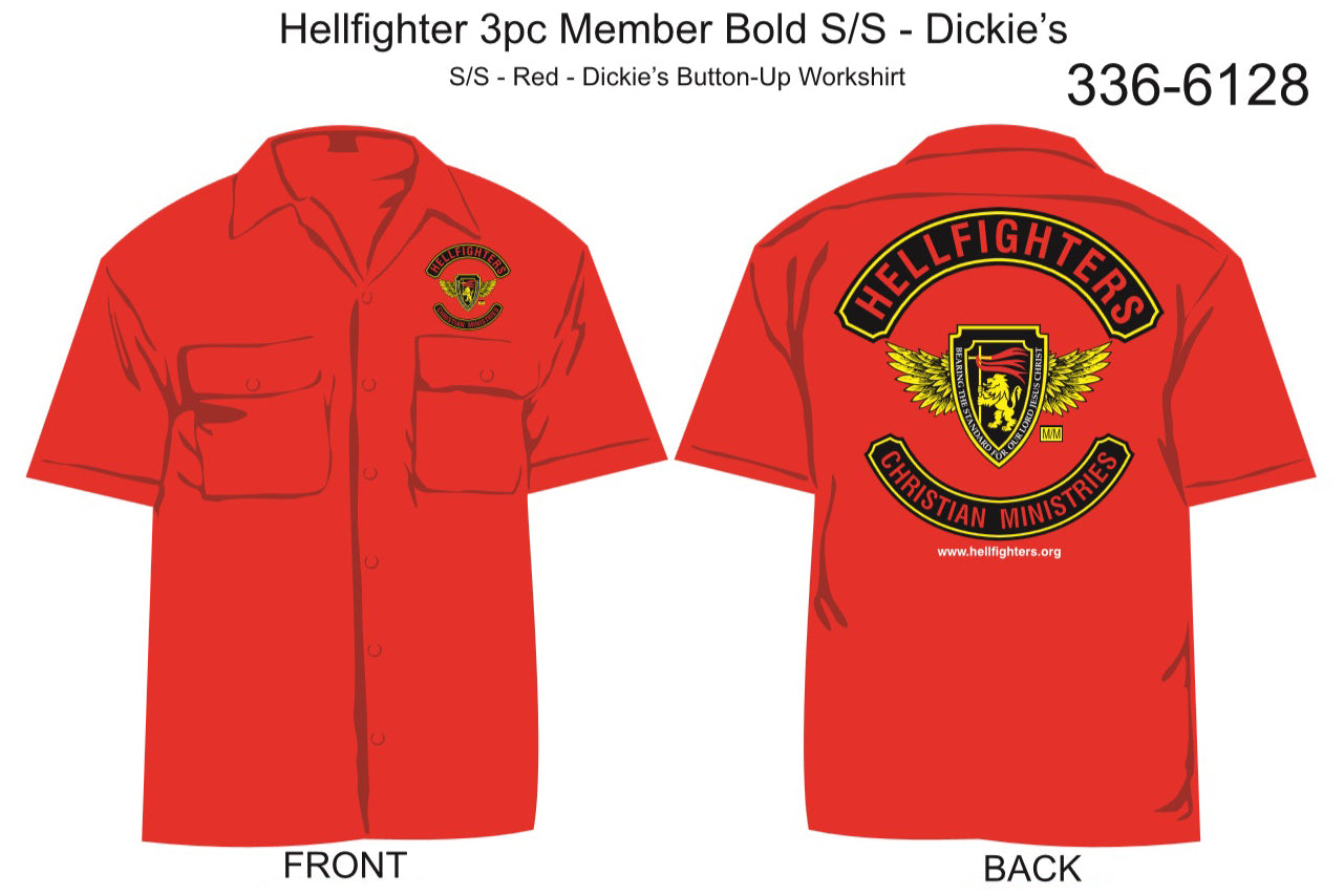 Shirt, Short Sleeve, Hellfighter 3pc Member Bold (red, Dickie's)