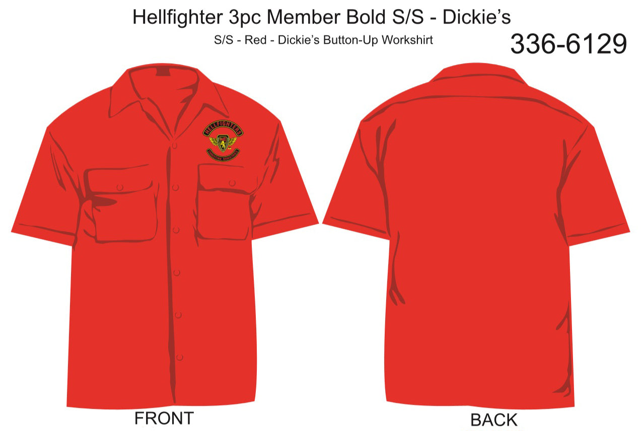 Shirt, Short Sleeve, Hellfighter 3pc Member Bold (red, Dickie's, pocket only)