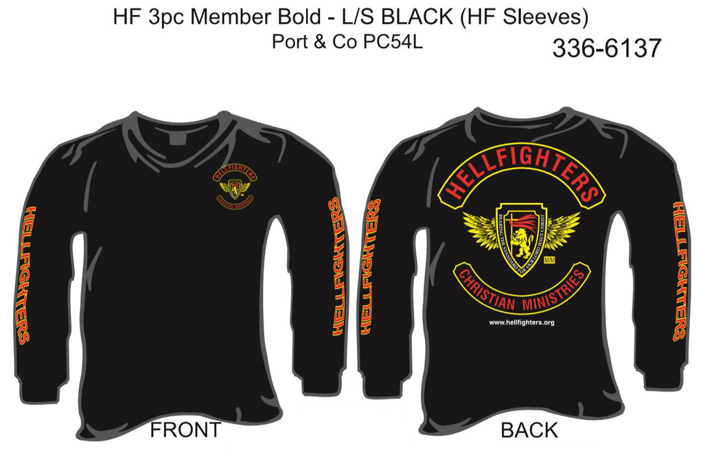 T-Shirt, Long Sleeve, Hellfighter 3pc Member Bold (black, HF sleeves)