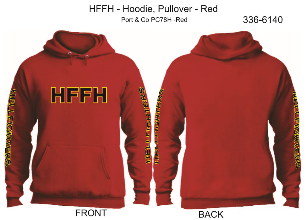 Hoodie, Long Sleeve, HFFH (red, HF sleeves, pullover)