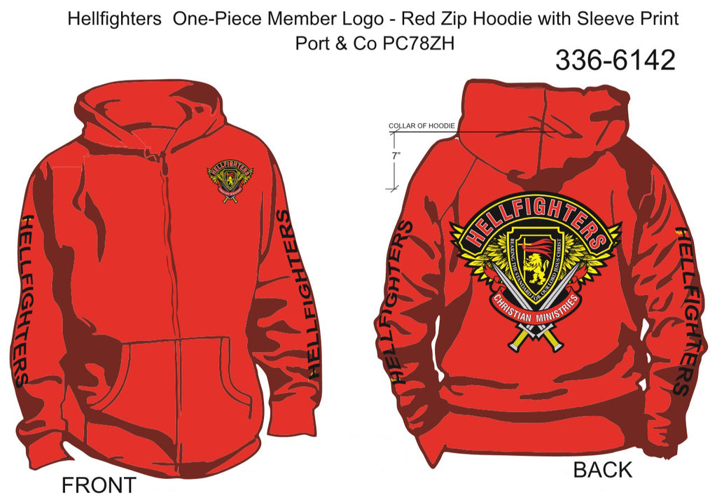 Hoodie, Long Sleeve, Hellfighter One-Piece Member (red, HF sleeves, zip-up)