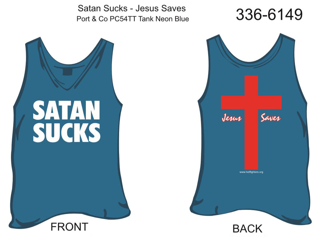 Tank, Satan Sucks/Jesus Saves (neon blue)